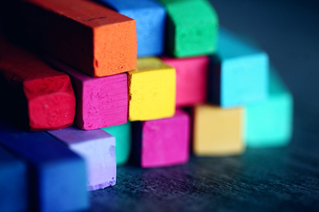 Photo of multicolored chalk symbolizing property division at Clemmons Family Law. Photo by Sharon McCutcheon from Pexels